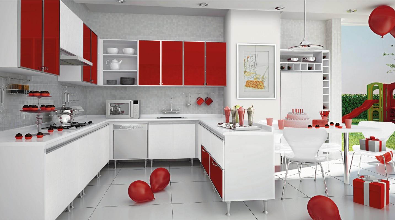 Cozinha Ice e Vidros Vermelhos