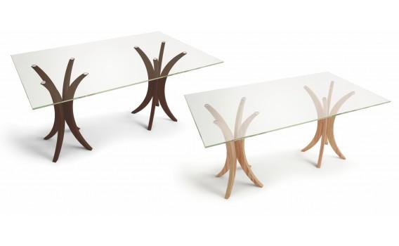 Mesa de jantar retangular 6 lugares com tampo em vidro incolor