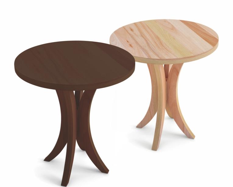 Mesa lateral baixa com tampo em madeira