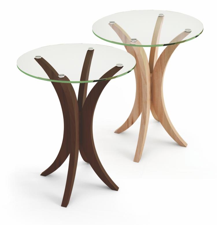 Mesa lateral média com tampo em vidro incolor