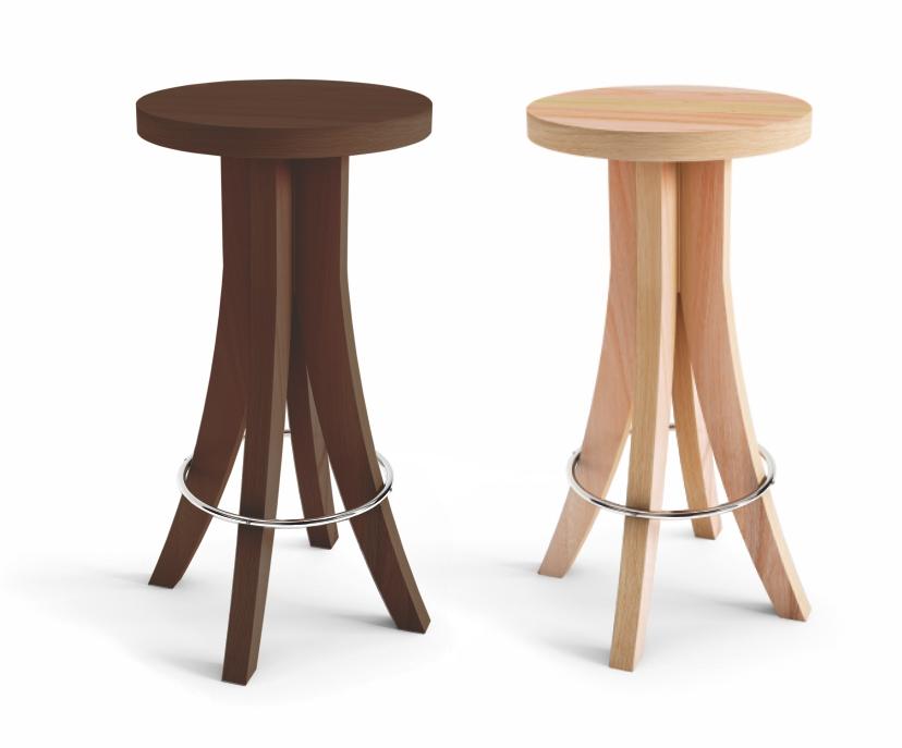 Banqueta alta com assento em madeira