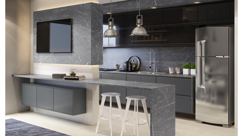 Cozinha Preto Brilho-Mármore Nero