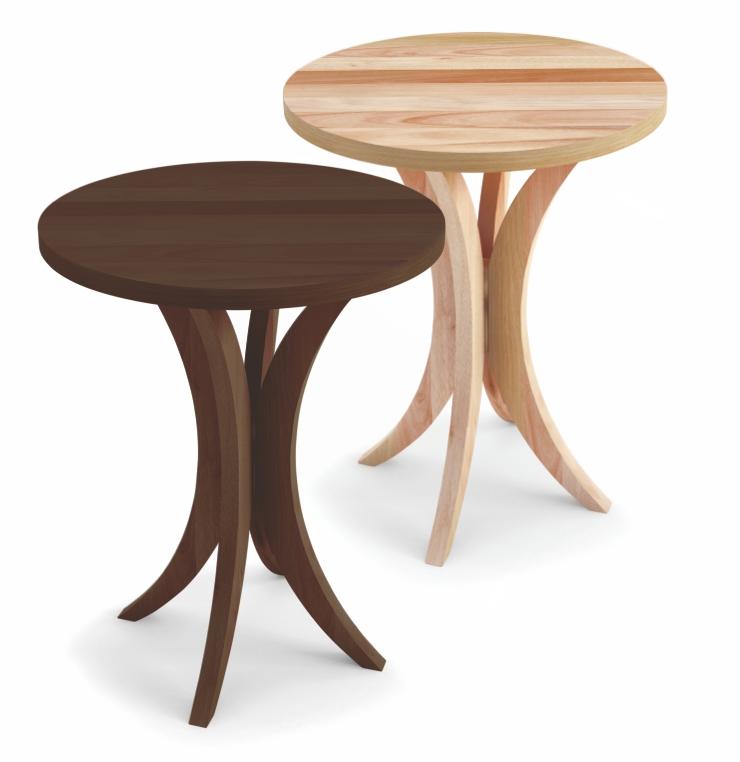 Mesa lateral média com tampo em madeira